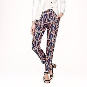 J. Crew Collection Abstract Coral Silk Dress Pants